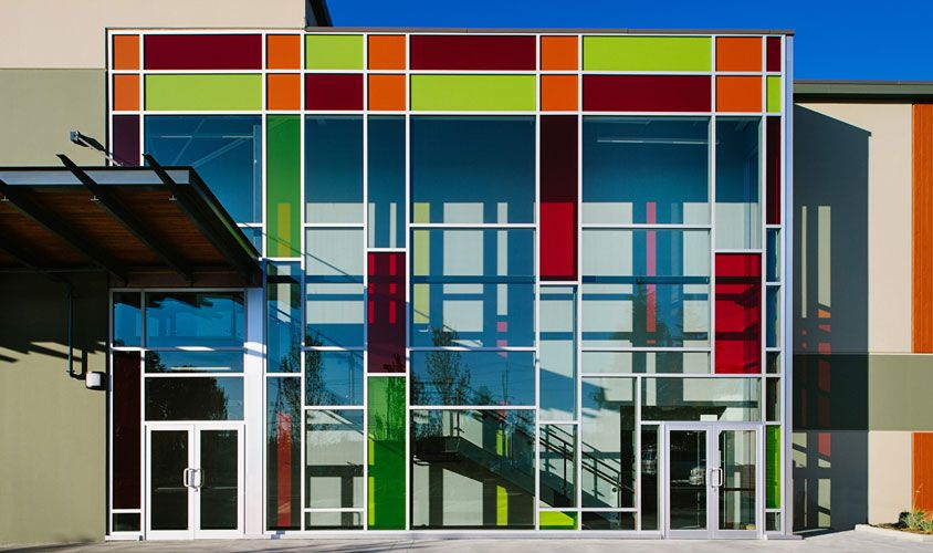 The StanJean Centre with exterior coloured glass wall